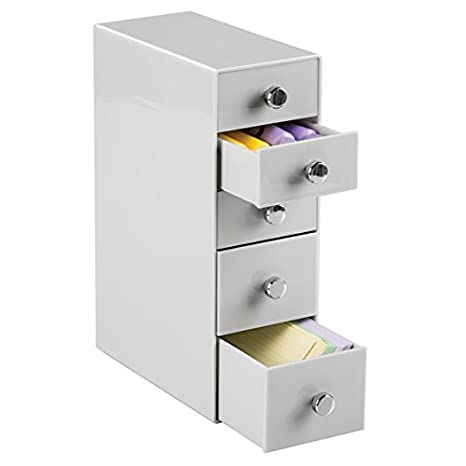 mDesign Estantería con cajones de plástico – Mueble de oficina con cinco cajones en color gris claro – Práctica cajonera para escritorio para grapas, ...