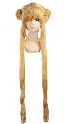 eNilecor Long Lolita Curly Wigs with Double Ponytail Custom Wig (Golden Blonde) (Sailor Moon Cosplay Wig)