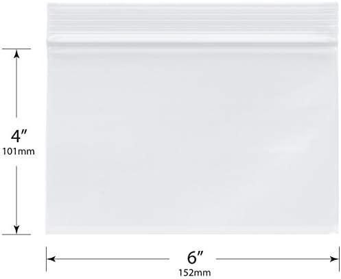 "Plymor Heavy Duty Plastic Reclosable Zipper Bags, 4 Mil, 6"" x 4"" (Pack of 100)"