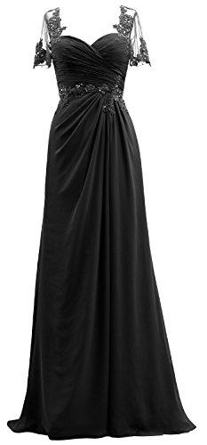 Les Femmes Macloth Mère Mousseline De Dentelle Robe De Soirée Manches Courtes De La Robe De Mariée Noire