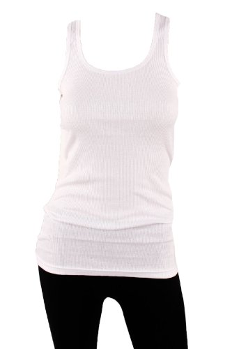 Sofra Women's Tank Top Cotton Ribbed White X-Large