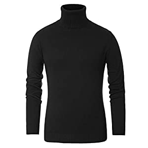 PAUL JONES Men's Slim Fit Turtleneck Soft Knitted Long Sleeve Pullover Sweaters