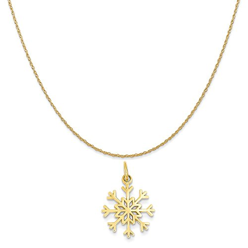 (Mireval 14k Yellow Gold Snowflake Charm on a 14K Yellow Gold Rope Chain Necklace, 16