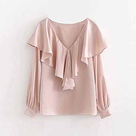 LFMDSY Elegante Camisa Rosa Mujer V Volantes Decorar Blusa Elegante Manga Larga Plisado Moda Túnica Tops Seda Sólido: Amazon.es: Deportes y aire libre