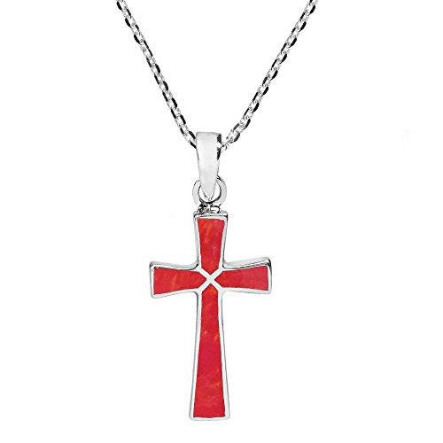 (AeraVida Minimalism Christian Cross Reconstructed Red Coral .925 Sterling Silver Pendant Necklace)