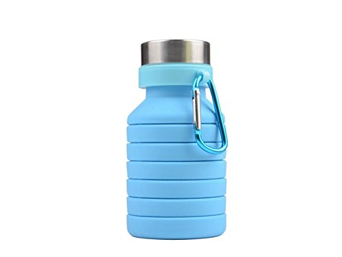 Yunqir Flexible 550ml Folable Water Bottles Collapsible Flexible Reuable Water Bottle for Hiking Adventures Traveling (Blue) by Yunqir