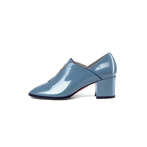 Ankle Short High Boots Women's Heels Round Blue Block Toe aO7cqqYRF