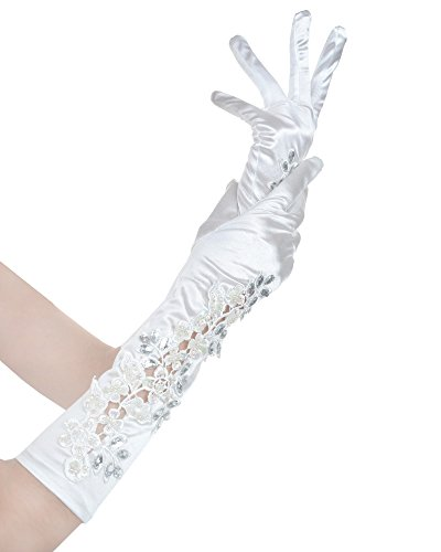 Party Elbow Rhinestone Pierced Lace Satin Bridal Gloves 16 Inch (16 Inch Satin Gloves)