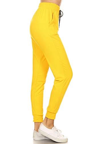 - Leggings Depot JGA128-YELLOW-L Solid Jogger Track Pants w/Pockets, Large