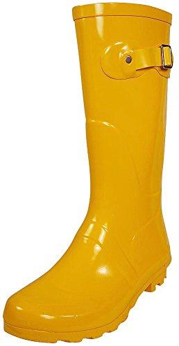 Rubber Gardening Boots - NORTY - Womens Hurricane Wellie Solid Gloss Mid-Calf Rain Boot, Yellow 38739-8B(M) US