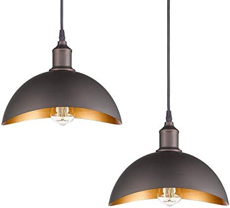 Emliviar Farmhouse Curved Pendant Lighting, Vintage Pendant Lights 2 Pack, Oil Rubbed Bronze, 1902M-2 ORB