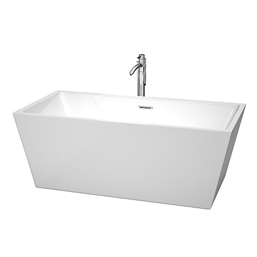 Wyndham Collection Sara 63 inch Freestanding Bathtub for Bathroom in White with Floor Mounted Faucet, Drain and Overflow Trim in Polished Chrome