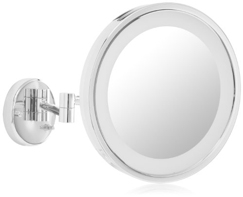 - Jerdon HL1016CL 9.5-Inch LED Lighted Wall Mount Makeup Mirror with 5x Magnification, Chrome Finish