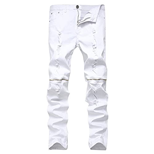 Qazel Vorrlon Mens White Zipper Ripped Distressed Destroyed Skinny Fit Jeans With Holes