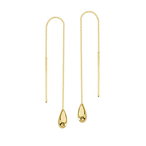 Threader Earrings 14K Yellow Gold Polished Teardrop and Bar with Box Chain