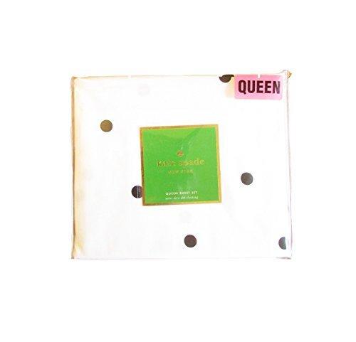 Kate Spade Mini Deco Dot Queen Sheet Set Featuring Black Dots on White Sheets | 100% Cotton