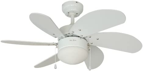 Hardware House 10-4852 Monterey 30-Inch Dual Mount Ceiling Fan, White and Satin Nickel
