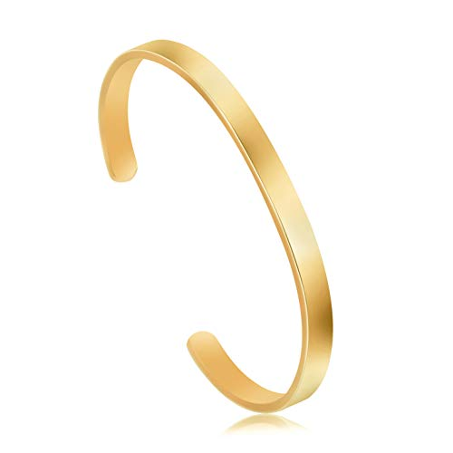 Joycuff Blank Friendship Cuff Bracelet Stainless Steel Jewelry Minimalist Simple Open Bangle Gold