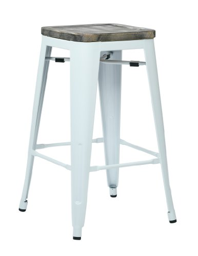 Metal Frame Backless Stools - Office Star Bristow 26-Inch White Metal Frame Barstool with Vintage Wood Seat, Ash Crazy Horse, 2-Pack
