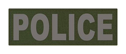 Police Green (POLICE ID Patch - 6x2 - Gray Lettering - OD Green Backing - Hook)