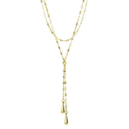 14k Yellow Gold Double Layer Fancy Link Chain Teardrop Lariat Y Necklace, 17