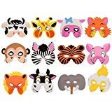 NARA ONE Animal Masks for Kids,Jungle Masks Goodie Bags Dress up Masks for Safari Party Supplies Birthday Party Favors Circus Kids Foam Mask Assorted (12 pcs)