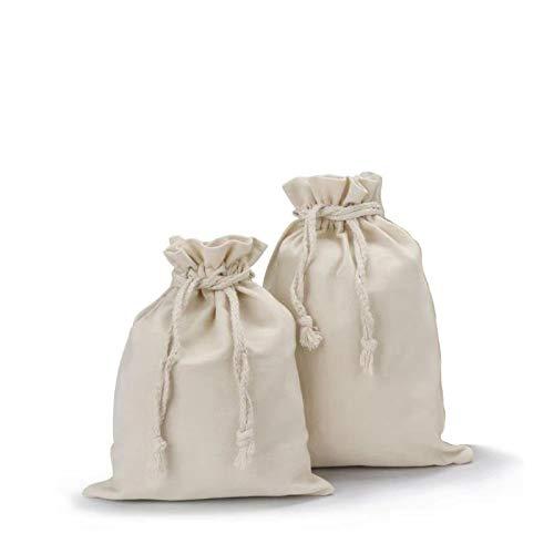 y8hm 2 Pack Heavy Duty 100 %オーガニックコットンProduceバッグ、再利用可能なランドリーバッグモスリン巾着バッグの野菜/果物/バルクFood Medium (15