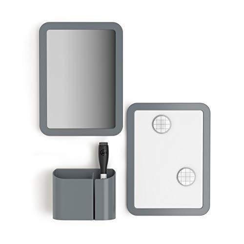 U Brands Locker Accessories Kit, Back to School Essentials, Grey, 6-Piece, Includes Whiteboard, Mirror and Organizing Supplies