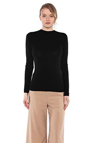 (JENNIE LIU Tissue Weight 55% Silk 45% Cashmere Waffle-Knit Long Sleeve Mock Neck Sweater(M, Black))