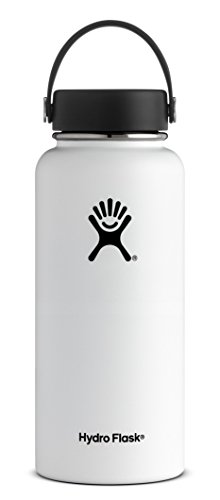 Hydro Flask 32 oz Double Wall Vacuum Insulated Stainless Steel Leak Proof Sports Water Bottle, Wide Mouth with BPA Free Flex Cap, White ()