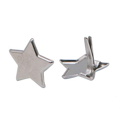 JETEHO 100 pcs Silver Stars Brads Fasteners Metal Paper Fasteners