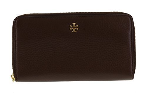 Tory Burch Mercer Zip Soft Pebbled Leather Continental Wallet Style No. 31412 (Dark Walnut) by Tory Burch