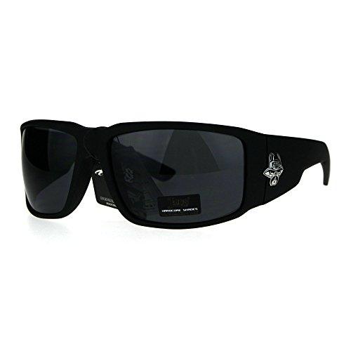 Mens Cholo Skull Logo Locs Large Rectangular Biker Sunglasses Matte - Skull Sunglasses