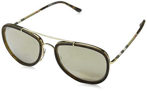 Burberry Unisex 0BE3090Q Brushed Gold/Dark Havana/Light Brown/Mirror Gold One Size