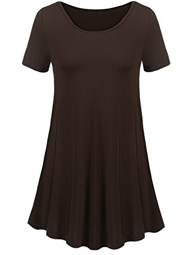 Uvog Womens Plus Size Short Sleeve Loose Fit Swing Tunic Tops Basic T Shirt (S, Coffee)