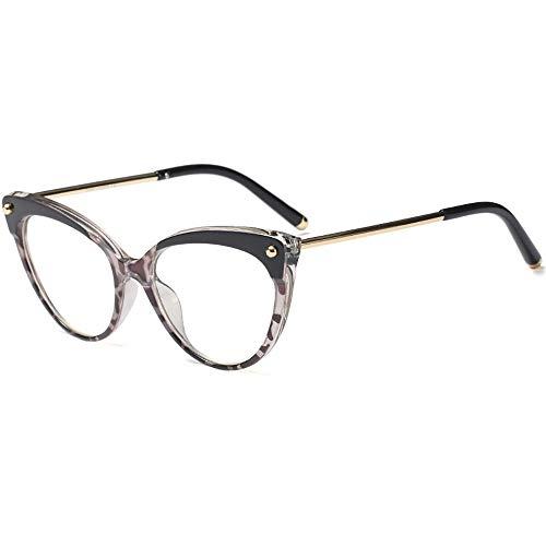 INS Vintage Inspired Half Tinted Frame Clear Lens Cat Eye Glasses for Women Oval Black -