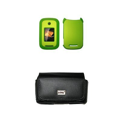 Bloutina EMPIRE Black Leather Case Pouch with Belt Clip and Belt Loops + Neon Green Rubberized Snap-On Cover Case for Motorola...