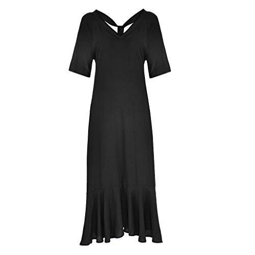 (WILLBE Women's Solid Dress Short Sleeve V-Neck Casual Dress Summer Long Dress Dresses Ladies Leisure Dress with Pockets Black )