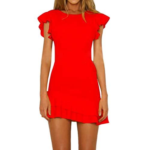 - Women Fashion Casual Solid Short Slim Fit Mini Dress Ruffles Backless Sleeveless Dress & ANJUNIE(1-Red,L)