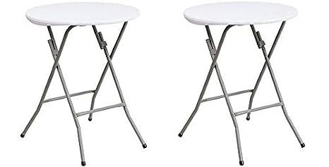 Amazon.com: Mesa plegable de plástico blanco granito redondo ...