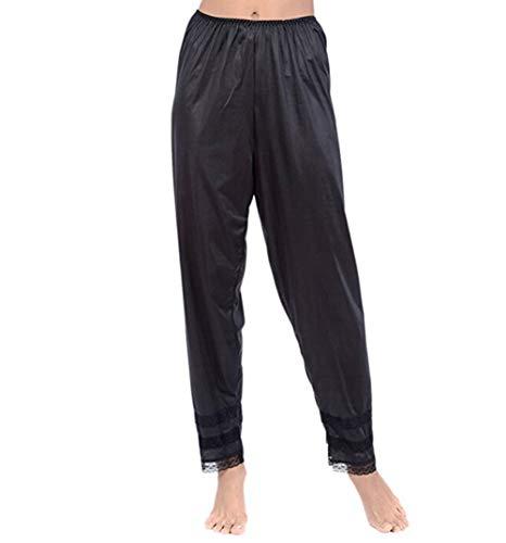 Women Silk Satin Pajamas Bottom Trousers Lace Sleepwear Nightwear Wide Legs Palazzo Pants (M, Black)