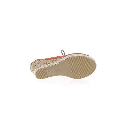 Sandalias rojas compensan a las mujeres en tacones de 10cm cerrado por encaje
