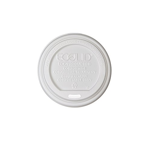 Eco-Products - Renewable & Compostable Hot Cup Lids - Fits 10-20oz Hot Cups - EP-ECOLID-W (16 Packs of 50)