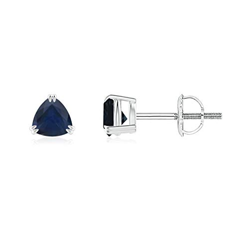 Sapphire Trillion Earrings - Double Claw-Set Trillion Sapphire Stud Earrings in 14K White Gold (4mm Blue Sapphire)