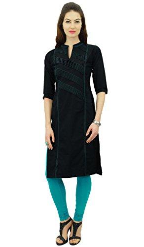 Phagun Femmes Tunique t Dcontract Droit Kurta Top Kurti Noir Indienne Ethnique Pintex Coton xxRw1