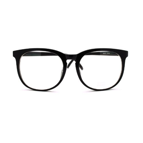 [Black Round Glasses Clear Lens Reader Nerd Style (Round Black)] (Costumes For Teachers)
