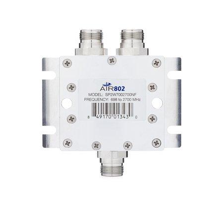 AIR802 RF Power Divider Combiner Splitter, 2-Way, N Jack-Female, 698-2700 MHz, Low PIM, Wall or Mast Mount, Indoor or Outdoor (IP67)