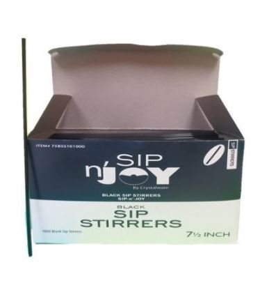 Crystalware Plastic Sip Stirrers 7-1/2 inch, 1000/box, Black (10 boxes of 1,000) ()