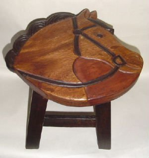 Horse Head Carved Wooden Foot Stool ()