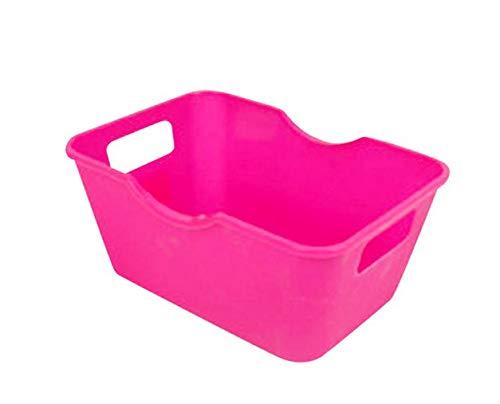 Yu2d  Plastic Office Desktop Storage Boxes Makeup Organizer Storage Box(玫红,Hot Pink) -